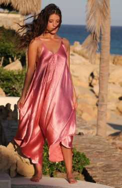 Rose Satin Resort Romper