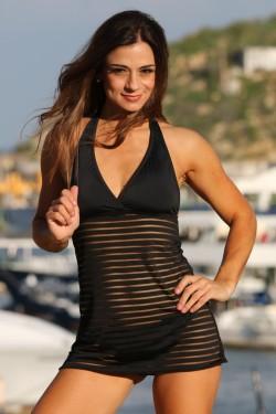Black Sheer Stripes Swim Dress