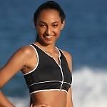 Zip Outline Sport Bikini Black/White Top