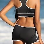 Zip Outline Sport Bikini Black/White Bottom