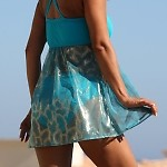 Sheer Sparkle Teal Swimdress Bottom